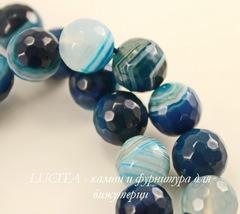 Бусина Агат (тониров), шарик с огранкой, цвет - синий с белыми полосками, 10 мм, нить