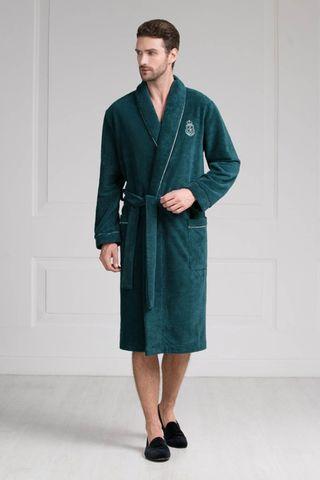Мужской халат 11007-5 изумрудный Laete