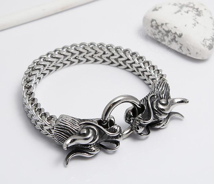 BM475 Тяжелый стальной браслет с драконами (22 см) фото 06