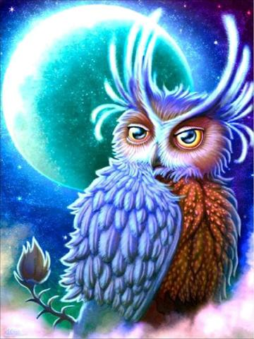 Алмазная Мозаика 40x50 Сказочная сова на фоне луны