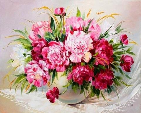 Картина раскраска по номерам 40x50 Букет розовых пионов в белой вазе (Без подрамника)