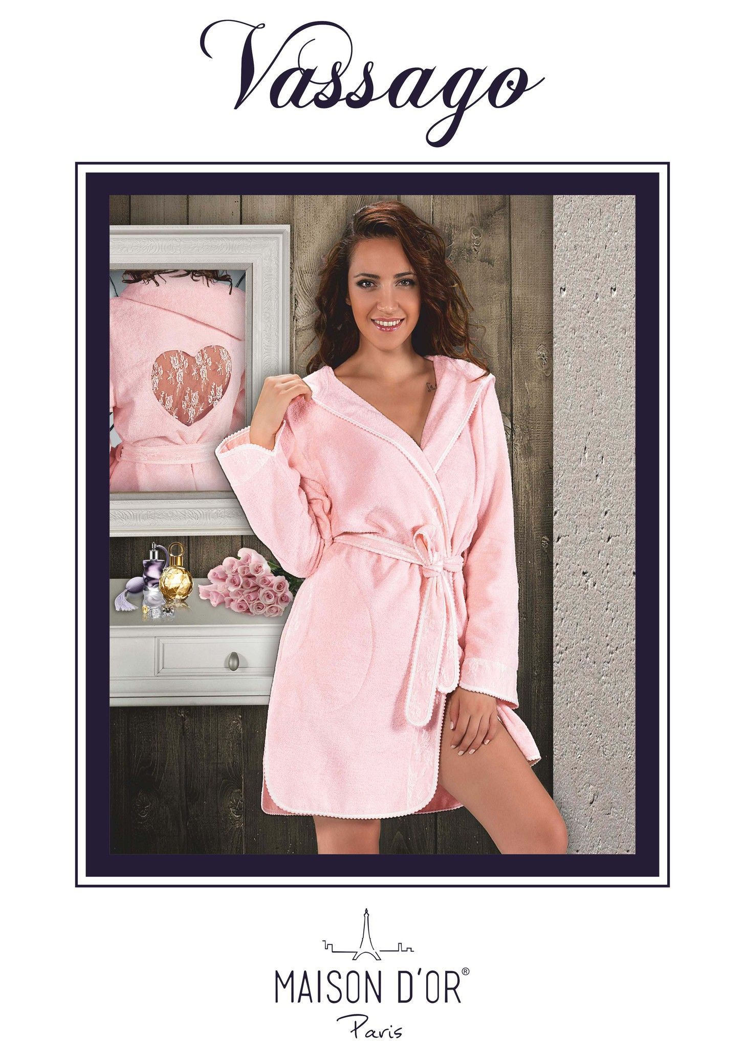 Махровые халаты VASSAGO ВАССАГО женский бамбуковый халат с капюшоном Maison Dor Турция Vassago-K.jpg