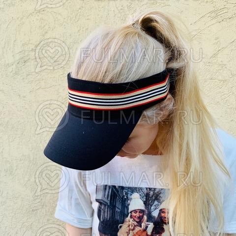 Козырёк от солнца на голову на липучке в полоску (цвет: Чёрный)