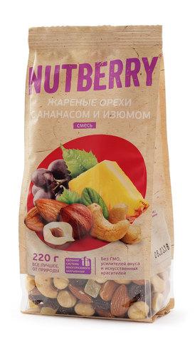 NUTBERRY Смесь жареных орехов с ананасом и изюмом 220 г
