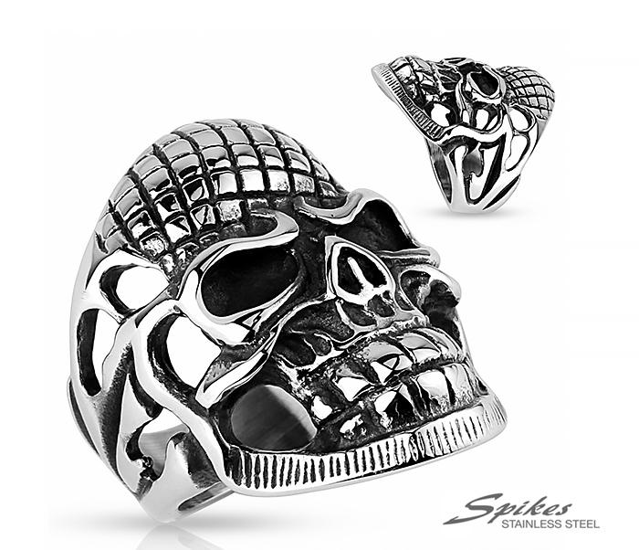 R-SF-024 Мужской перстень в виде черепа из ювелирной стали, «Spikes»