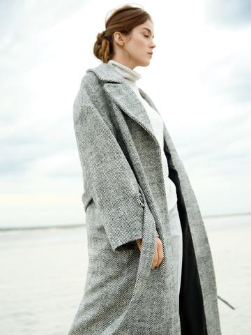 Пальто с из шерсти Max Mara черный/белый