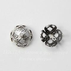 Винтажный декоративный элемент - шапочка филигранная 7х4 мм (оксид серебра)