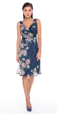 Фото шелковое платье на запах с v-образным вырезом и кружевом - Платье З194а-432 (1)