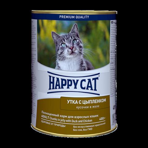 Happy Cat Консервы для кошек с уткой и цыпленком кусочки в желе