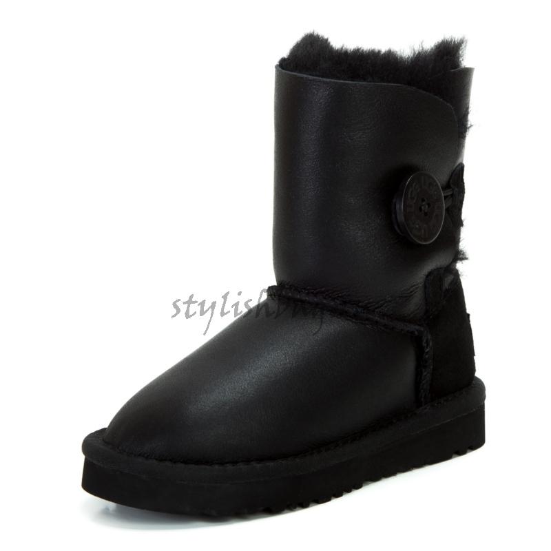 Детские кожаные угги UGG Australia Bailey Button Black