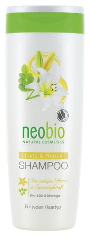 NEOBIO шампунь для восстановления и блеска волос с био-лилией и морингой