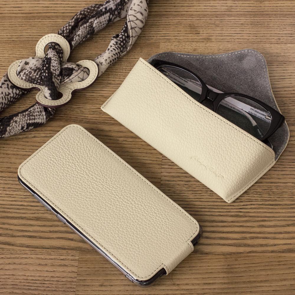 Чехол для Samsung Galaxy S9 из натуральной кожи теленка, молочного цвета