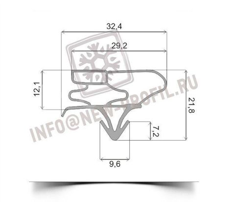 Уплотнитель 97*57 см для холодильника LG GR-479 BLNA (холодильная камера) Профиль 003