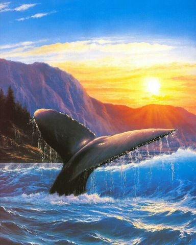 Картина раскраска по номерам 50x65 Кит уходит под воду
