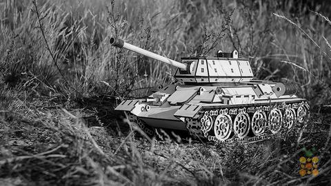 Деревянные конструкторы Eco Wood Art. Модель Танк Т-34