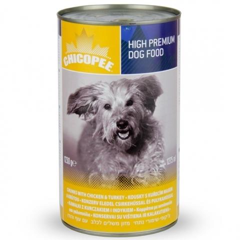 Chicopee Dog Chunks Chicken Turkey консервы для собак всех пород и возрастов с кусочками курицы и индейки в соусе 0,4 кг