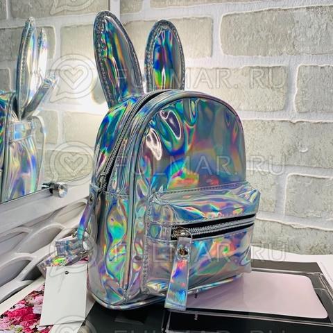 Детский голографический рюкзак с ушами зайца Серебристый