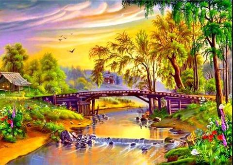Алмазная Мозаика 30x40 Мост над рекой в нарисованном городке