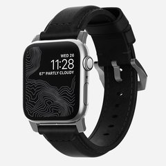 Ремешок Nomad Traditional Strap для Apple Watch 44mm/42mm кожа, черный/серебристый