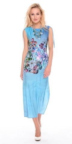 Фото праздничное голубое платье в пол с цветочным принтом - Платье З195-433 (1)