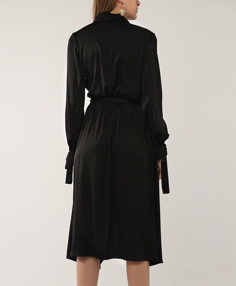 Шелковое платье Freja черного цвета