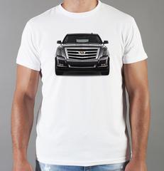 Футболка с принтом Кадиллак (Cadillac) белая 0010