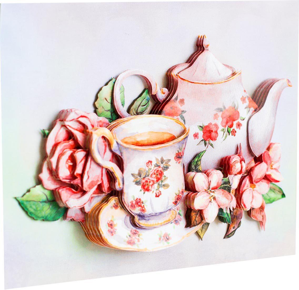 Папертоль Утренний чай — собранный сюжет, вид сбоку.