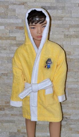 Халат детский махровый желтый  Бойс La Villa  (Турция)