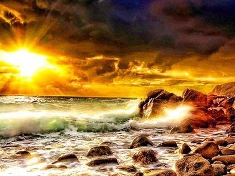 Алмазная Мозаика 30x40 Море бушует у камней
