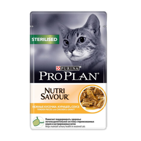 Purina Pro Plan Sterilised Консервы для стерилизованных кошек и кастрированных котов с Курицей в соусе (Пауч)