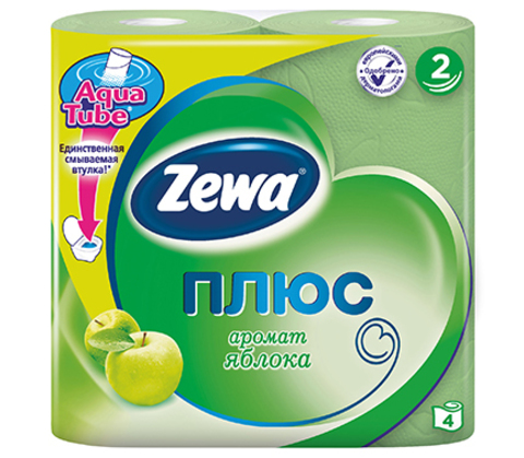 Туалетная бумага Zewa плюс 2-х слойная  Яблоко 4шт