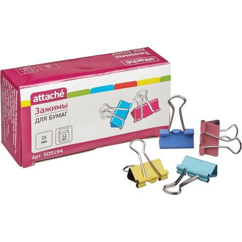 Зажим для бумаг цветные 25мм 12шт/уп Attache, в картонной коробке