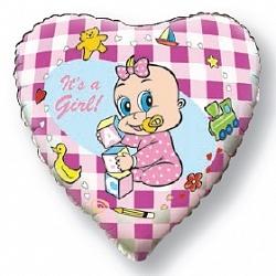 Фольгированный шар Новорожденная девочка 18