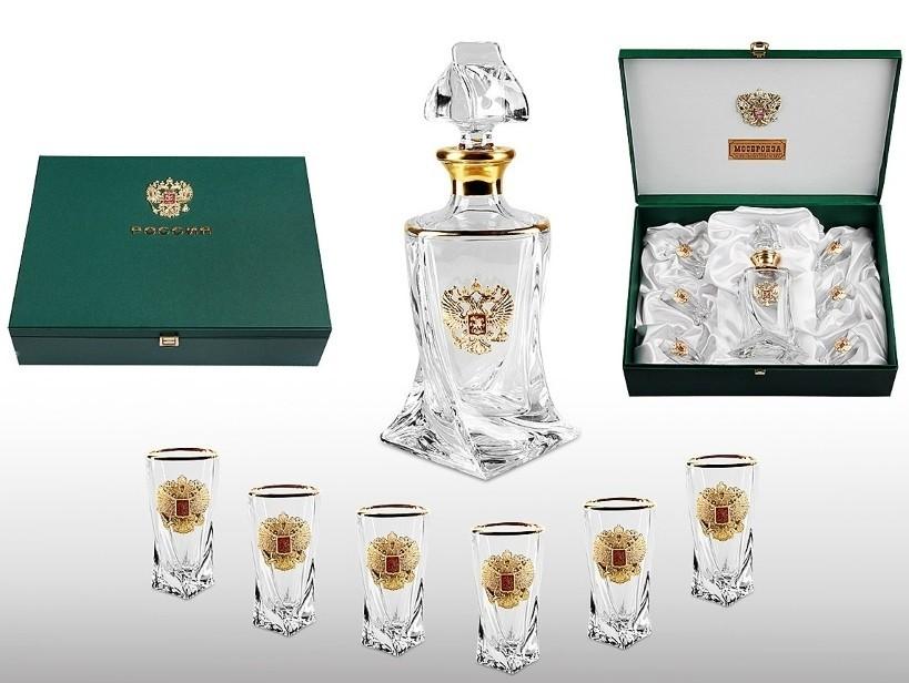 Набор для водки из богемского стекла «Истеблишмент gold» недорого