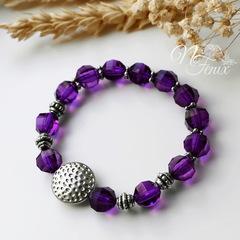 Бусина акриловая шарик с огранкой темно-фиолетовый 10 мм, 10 штук