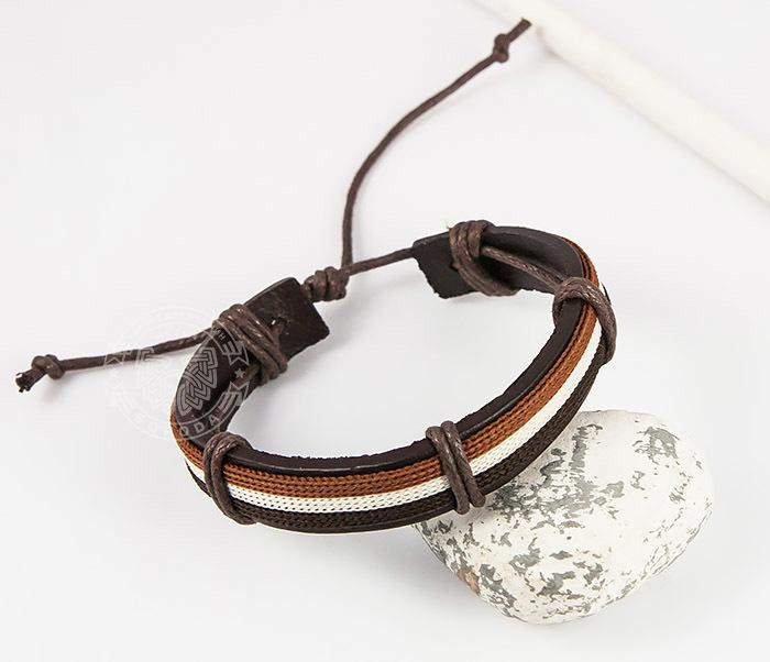 SL0051-BRN Стильный мужской браслет на завязках из натуральной кожи, «Spikes»