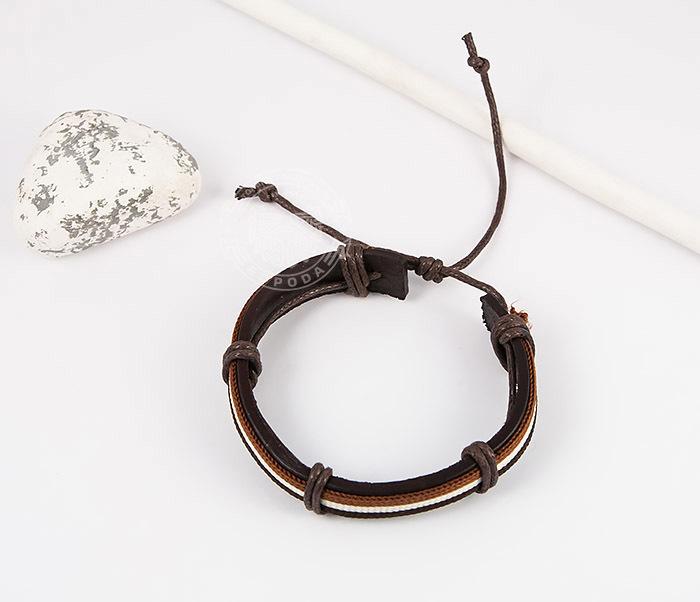 SL0051-BRN Стильный мужской браслет на завязках из натуральной кожи, «Spikes» фото 02