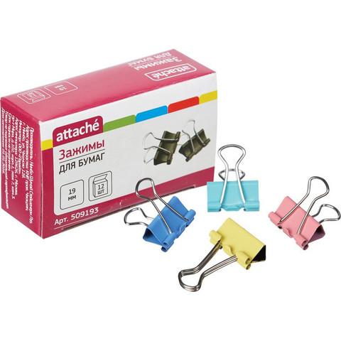 Зажимы для бумаг Attache 19 мм цветные (12 штук в упаковке)