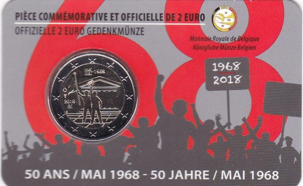 """2 евро 2018 г. """"50-летие студенческих волнений в мае 1968 года"""" Бельгия (в буклете)"""