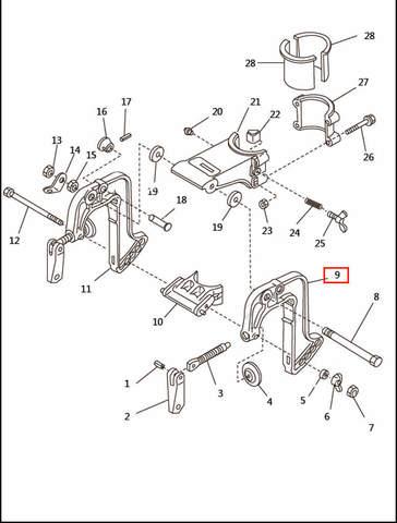Скоба струбцины левая  для лодочного мотора T2,5 SEA-PRO (6-9)