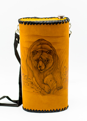 Фляга «Медведь», натуральная кожа с художественным выжиганием, 2 л