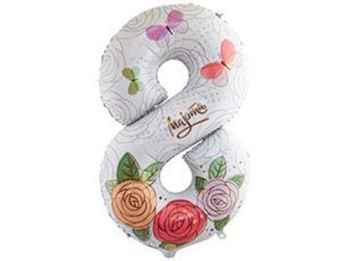 Фольгированный шар цифра 8 МАРТА Розы