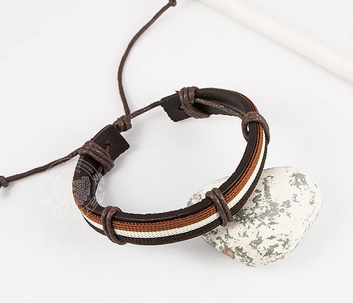 SL0051-BRN Стильный мужской браслет на завязках из натуральной кожи, «Spikes» фото 05