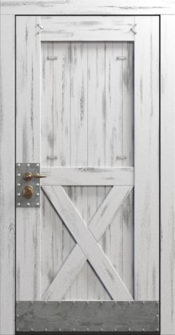 Входная дверь «Loft» в цвете, Эмаль белая (массив сосны)