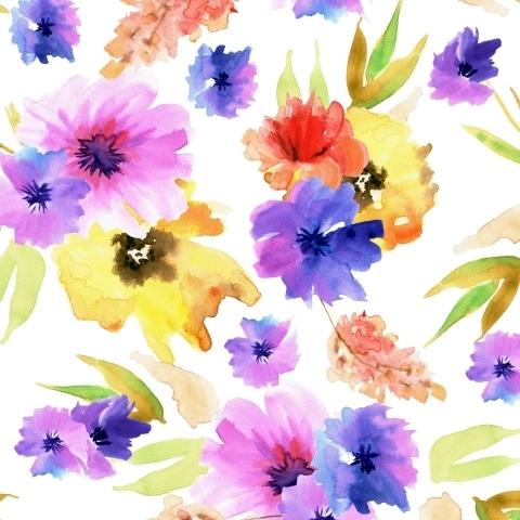 Фиолетовые и желтые цветы. Акварель