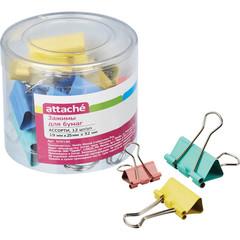 Зажим для бумаг ассорти цветные (19мм,25мм,32мм), 12шт/уп Attache,пласт.бок