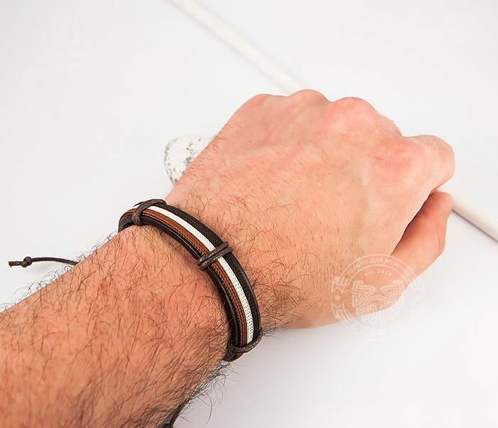 SL0051-BRN Стильный мужской браслет на завязках из натуральной кожи, «Spikes» фото 06