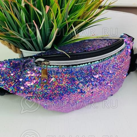 Поясная сумка летняя для девочки в блестящих пайетках Русалочка меняет цвет Лиловый-Мятный