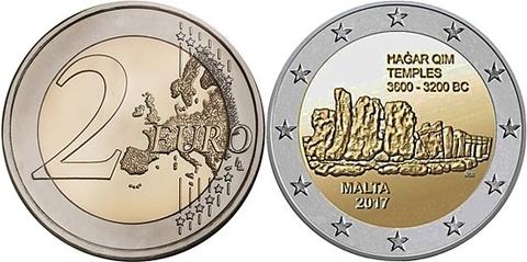 "2 евро Мальта ""Комплекс Хаджар-Ким"" 2017 год"