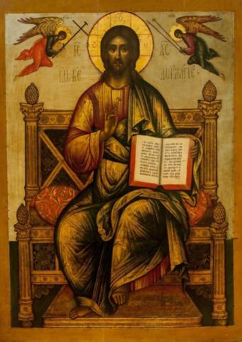 Икона Господь Вседержитель на Троне на левкасе на дереве мастерская Иконный Дом